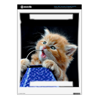 Orange Cat Cub Playing and Biting Blue Skin For Xbox 360 Console
