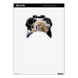 Orange Cat Cub Playing and Biting Blue Xbox 360 Controller Skin