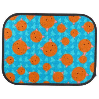 Orange cat face blue christmas trees car mat