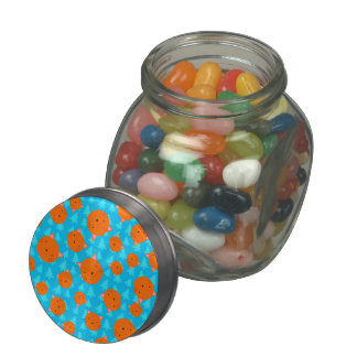 Orange cat face blue christmas trees glass candy jars