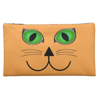 Orange Cat Face Cosmetic Bag