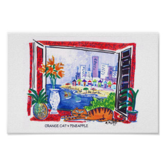 Orange Cat, flowers and beach view Poster