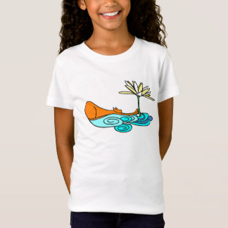 Orange Cat Greeting Lotus Flower Girls T-Shirt