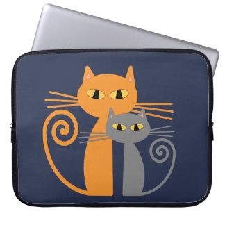 Orange Cat, Grey Cat Computer Sleeve