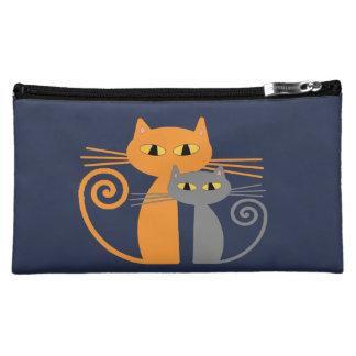 Orange Cat, Grey Cat Cosmetic Bag