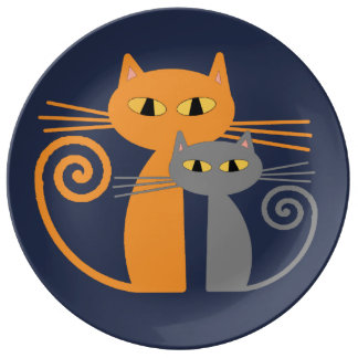 Orange Cat, Grey Cat Porcelain Plate