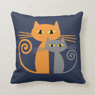 Orange Cat, Grey Cat Throw Pillow