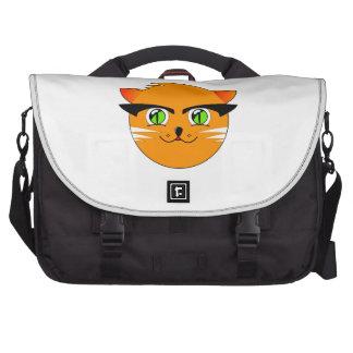 Orange cat head cartoon laptop bags