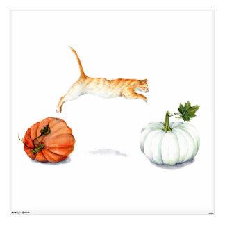 Orange Cat Jumping Between Pumpkins Wall Sticker