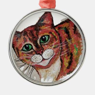 Orange Cat Metal Ornament