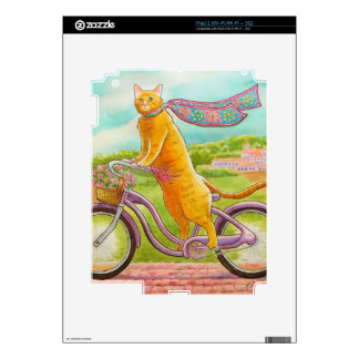 Orange Cat on a Purple Bicycle iPad 2 Decals
