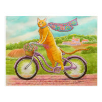 Orange Cat on a Purple Bicycle Postcard