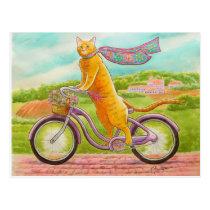 Orange Cat on a Purple Bicycle Postcard