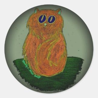 Orange Cat on Sage Round Sticker