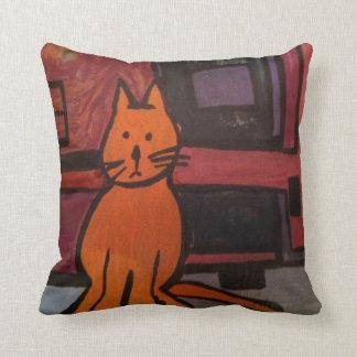 Orange Cat Painting Throw Pillow