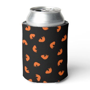 Beach Themed Orange Cat Pattern Can Cooler