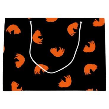 Beach Themed Orange Cat Pattern Large Gift Bag