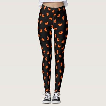 Beach Themed Orange Cat Pattern Leggings