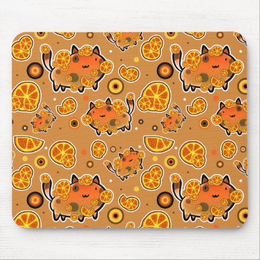 Orange Cat Pattern Mousepad