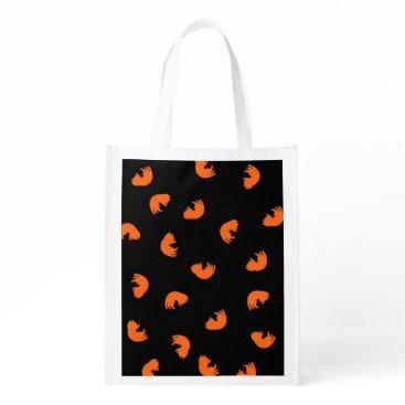 Beach Themed Orange Cat Pattern Reusable Grocery Bag