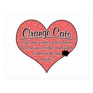 Orange Cat Paw Prints Humor Postcard