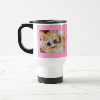 Orange Cat Portrait Personalized Pink Travel Mug