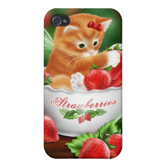 Orange Cat Red Strawberries iPhone 4 Case