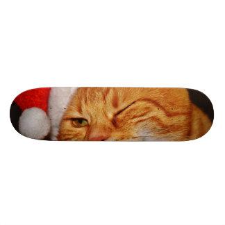 Orange cat - Santa claus cat - merry christmas Skateboard Deck
