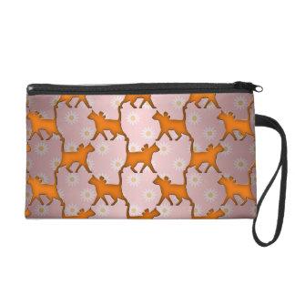 Orange Cat Silhouette Pattern Wristlet Purses