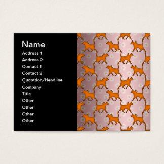 Orange Cat Silhouette Pattern Business Card