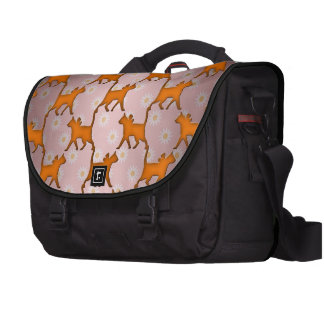 Orange Cat Silhouette Pattern Computer Bag