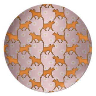 Orange Cat Silhouette Pattern Dinner Plates