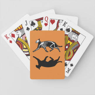 Orange Cat skeleton and shadow playing cards