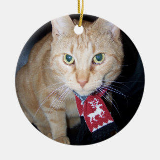 Orange Cat Wearing Scarf Ornament