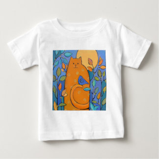Orange Cat with Bird by Sue Davis Baby T-Shirt