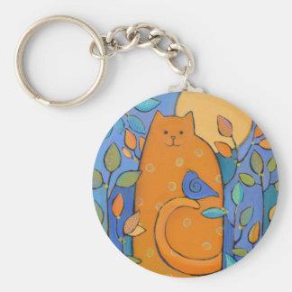 Orange Cat with Bird by Sue Davis Basic Round Button Keychain