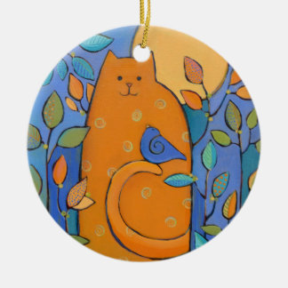 Orange Cat with Bird by Sue Davis Ceramic Ornament