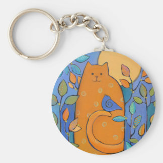 Orange Cat with Bird by Sue Davis Key Chains