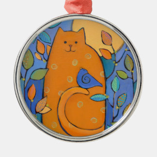 Orange Cat with Bird by Sue Davis Metal Ornament