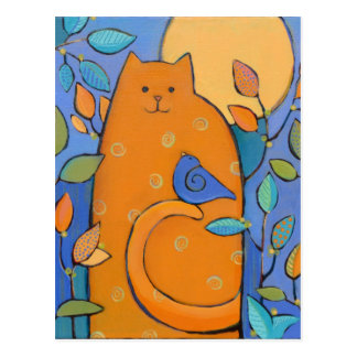Orange Cat with Bird by Sue Davis Postcard