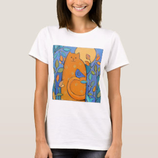 Orange Cat with Bird by Sue Davis T-Shirt
