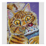 ORANGE CAT WITH CUPCAKE POSTER