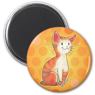 Orange Cat with Dot Magnet