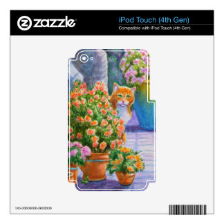 Orange Cat with Flower Pots iPod Touch 4G Skins