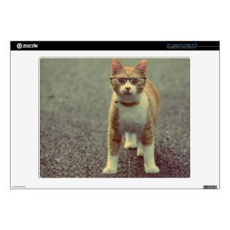 """Orange cat with glasses 14"""" laptop decals"""