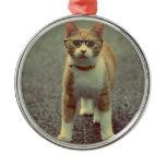 Orange cat with glasses metal ornament