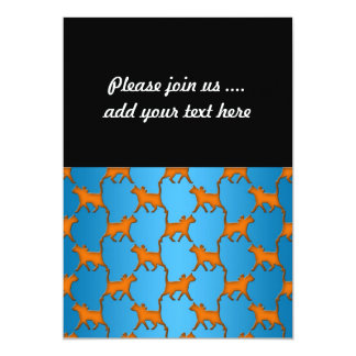 Orange Cats on Blue Background Pattern Card