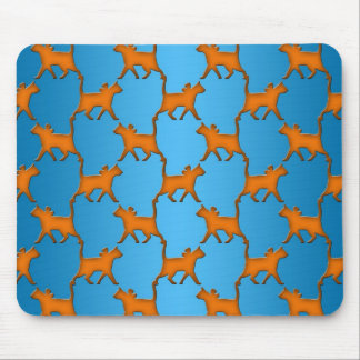 Orange Cats on Blue Background Pattern Mouse Pad