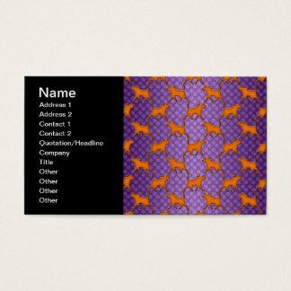 Orange Cats Pattern on Purple Polka Dots Business Card