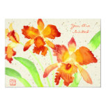 """Orange Cattleya Orchids Watercolor Painting 5"""" X 7"""" Invitation Card"""